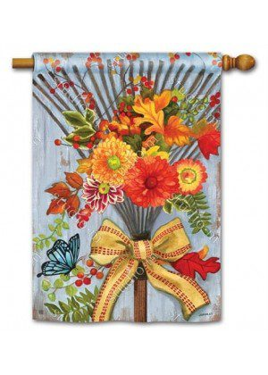Time to Rake House Flag | Fall Flags | Floral Flags | Yard Flags | Cool Flag