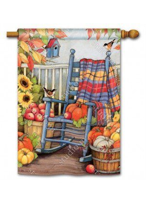 Autumn Porch House Flag | Fall Flags | Floral Flags | Bird Flag | Yard Flags
