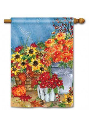 Mums the Word House Flag | Fall Flags | Floral Flags | Yard Flags | Flags