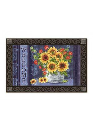 Denim Sunflowers Doormat | Doormats | MatMates | Decorative Doormats