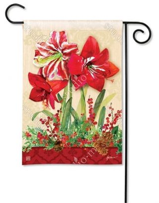 Amaryllis Garden Flag | Christmas Flags | Holiday Flags | Winter Flags