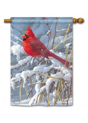 Cardinal in Snow House Flag | Winter Flags | Bird Flags | Yard Flags | Flag