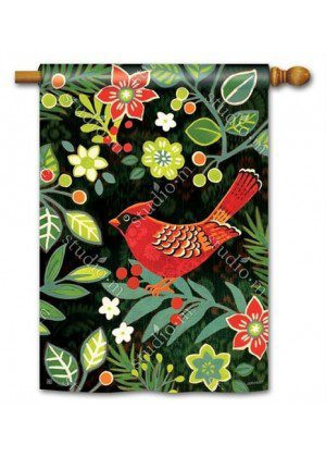 Folk Cardinal House Flag | Christmas Flags | Bird Flags | Floral Flags