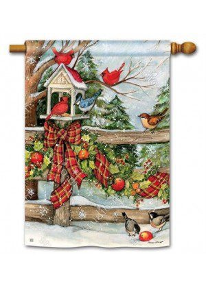 Winter Gathering House Flag | Winter Flags | Bird Flags | Yard Flags