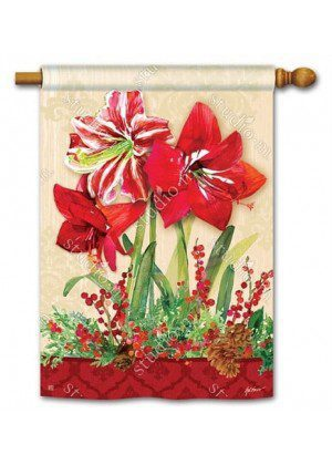 Amaryllis House Flag | Christmas Flags | Holiday Flags | Yard Flags | Flags