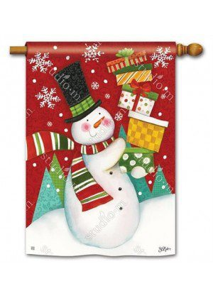 Happy Snowman House Flag | Christmas Flags | Snowman Flags | Flags