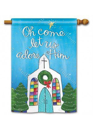 Adore Him House Flag | Christmas Flags | Holiday Flags | Winter Flags