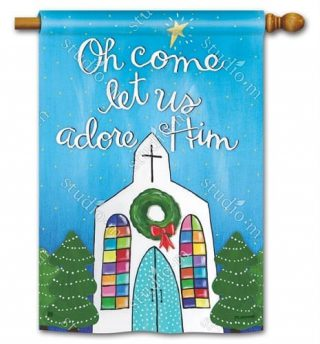 Adore Him House Flag | Christmas Flags | Holiday Flags | Yard Flags