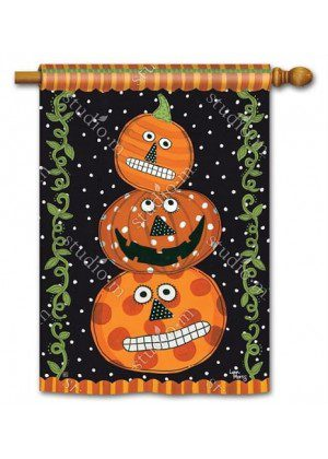 Pumpkin Faces House Flag | Halloween Flags | Holiday Flags | Yard Flags