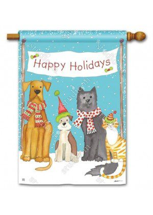 Pet Holidays House Flag | Christmas Flags | Yard Flags | Animal Flags