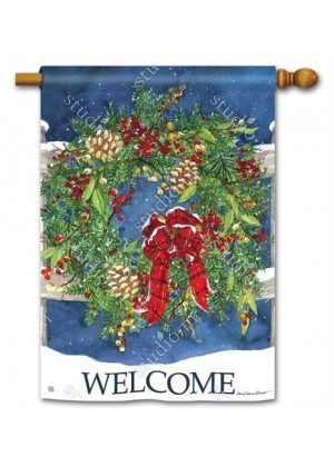 Winter Wreath House Flag | Welcome Flag | Two Sided Flags | Winter Flag