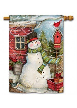 Red Barn Snowman House Flag | Christmas Flags | Snowman Flags