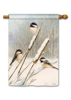 Cattail Chickadees House Flag | Winter Flags | Bird Flags | Yard Flags