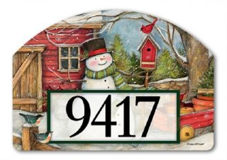 Red Barn Snowman Yard Sign | Address Plaques | Yard Decor | Yard Signs