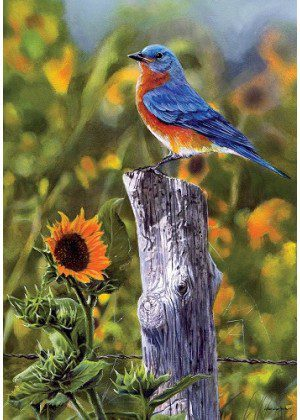 Bluebird Sunflowers Flag | Fall Flags | Bird Flags | Floral Flags | Flags