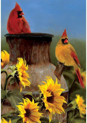 Cardinal Sunflowers Flag | Fall Flags | Bird Flags | Floral Flags | Cool Flags