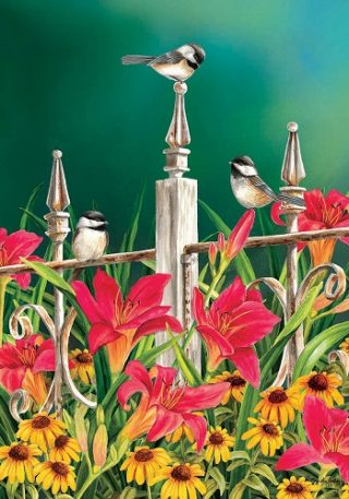 Chickadees Flag | Spring Flag | Floral Flags | Bird Flags | Summer Flags