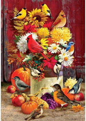 Colorful Autumn Songbirds Flag | Fall flags | Bird Flags | Floral Flags | Flag