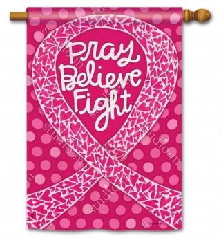 Think Pink House Flag   Inspirational Flags   Charity Flags   Yard Flags