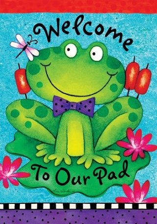 Fancy Frog Flag | Spring Flags | Welcome Flag | Double Sided Flags