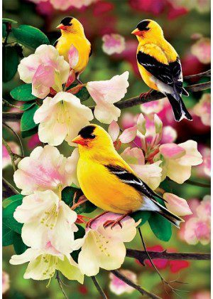 Goldfinch Gathering Flag | Bird Flags | Spring Flags | Floral Flags | Flags