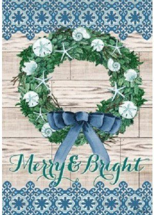 Merry & Bright Wreath Flag | Christmas Flags | Double Sided Flags