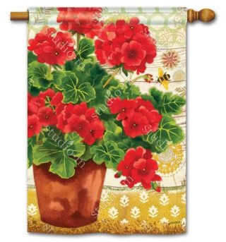Potted Geraniums House Flag | Floral Flags | Spring Flags | Yard Flags