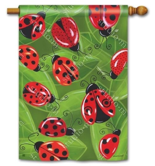 Lucky Ladybugs Flag | House Flag | Decorative Flag | Garden House Flags
