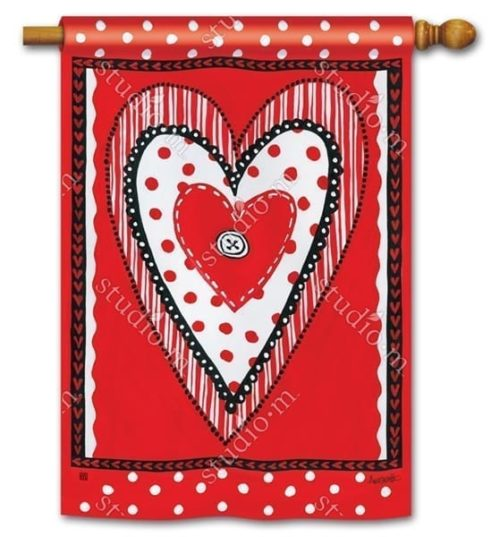 Button Valentine House Flag | Decorative Flags | House Flags | Garden House Flags