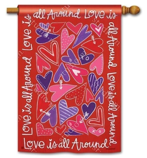 Mix It Up Valentine House Flag | Decorative House Flags | Garden House Flags