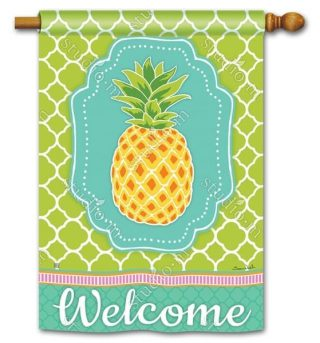 Preppy Pineapple House Flag | Welcome Flags | Spring Flags | Yard Flags