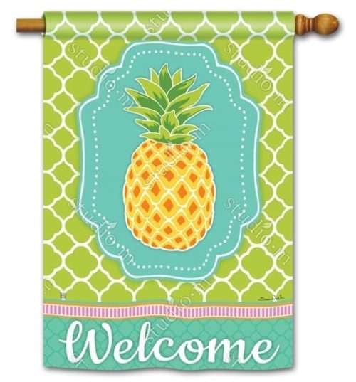 Preppy Pineapple Flag | Decorative House Flags | Garden House Flags
