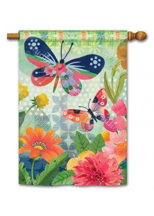 Butterflies in Flight House Flag | Floral Flags | Spring Flags | Yard Flags