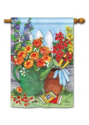 Vintage Watering Can House Flag | Floral Flag | Summer Flags | Yard Flag