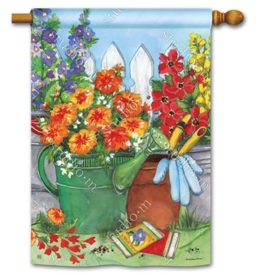 Vintage Watering Can Flag | Decorative House Flag | Garden House Flags