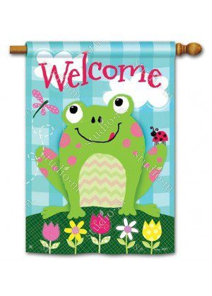 Happy Frog House Flag | Welcome Flags | Floral Flags | Spring Flags