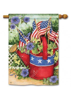 Patriotic Watering Can House Flag | Patriotic Flags | 4th of July Flag | Flag