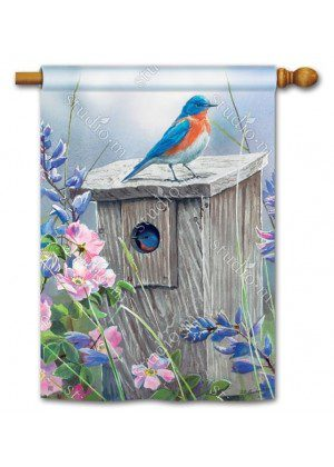 Bluebird Lookout House Flag | Bird Flags | Floral Flags | Yard Flags | Flags