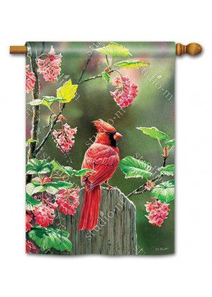 Cardinal Beauty House Flag | Bird Flags | Floral Flags | Yard Flags | Flags