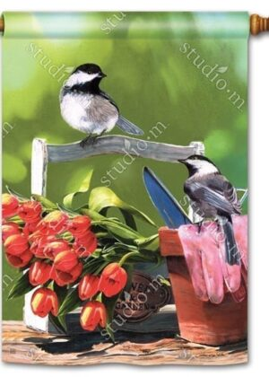 Chickadee Rest Stop Flag | Decorative House Flags | Garden House Flags