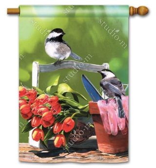 Chickadee Rest Stop House Flag | Bird Flags | Floral Flags | Yard Flags