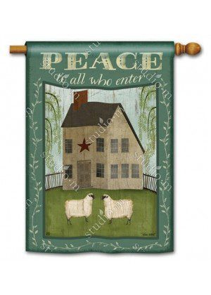 Peace to All Who Enter House Flag | Inspirational Flags | Summer Flags