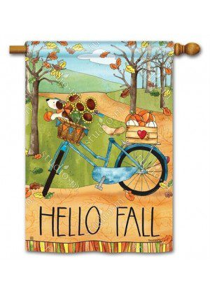 Autumn Bike Ride House Flag | Fall Flags | Yard Flags | Welcome Flags