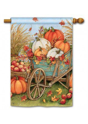 Pumpkin Wagon House Flag | Thanksgiving Flags | Fall Flags | Yard Flags