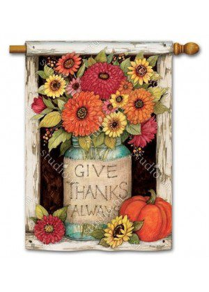 Fall Mason Jars House Flag | Inspirational Flags | Fall Flags | Floral Flags
