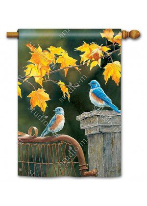 Bluebird Meeting House Flag | Fall Flags | Bird Flags | Yard Flags | Flags