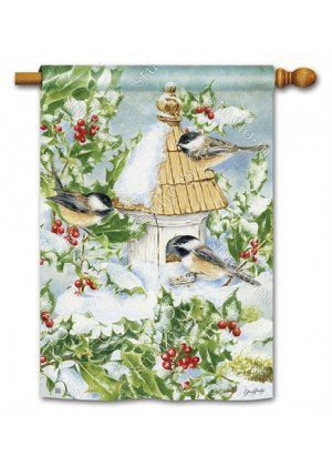 Chickadee Welcome House Flag | Winter Flags | Birds Flags | Yard Flags