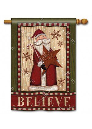 Santa with Star House Flag | Christmas Flags | Holiday Flags | Yard Flags