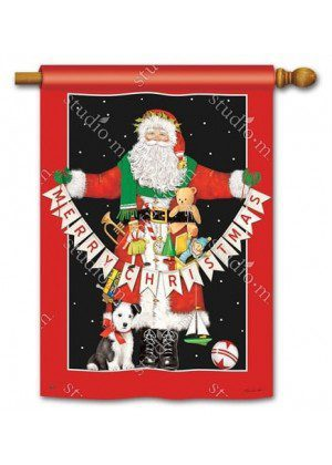 Santa Greetings House Flag | Christmas Flags | Holiday Flags | Yard Flags