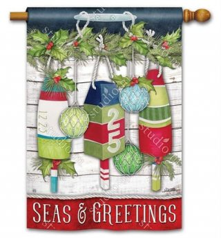 Seas and Greetings House Flag | Christmas Flags | Yard Flags | Flags
